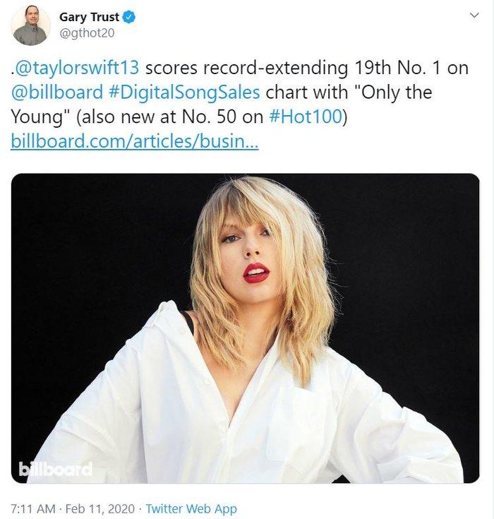 Với thành tích mới của Only The Young, Taylor Swift chính thức sở hữu ca khúc thứ 19 có thể làm được điều này... - Hình 1