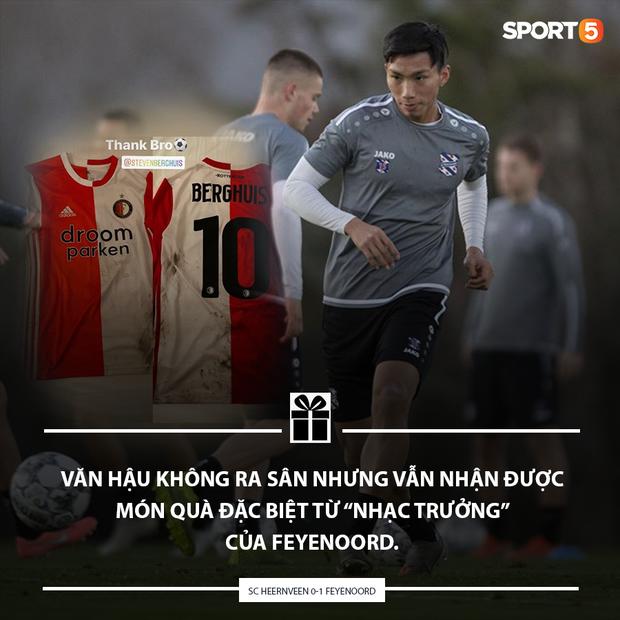 Không thi đấu một phút nào trong thất bại của SC Heerenveen, Văn Hậu vẫn nhận được quà Valentine đặc biệt từ tuyển thủ Quốc gia Hà Lan - Hình 1