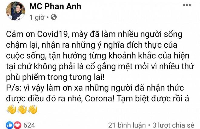 Đang yên lành, MC Anh lại gây tranh cãi khi viết status cảm ơn đại dịch Covid-19 - Hình 1