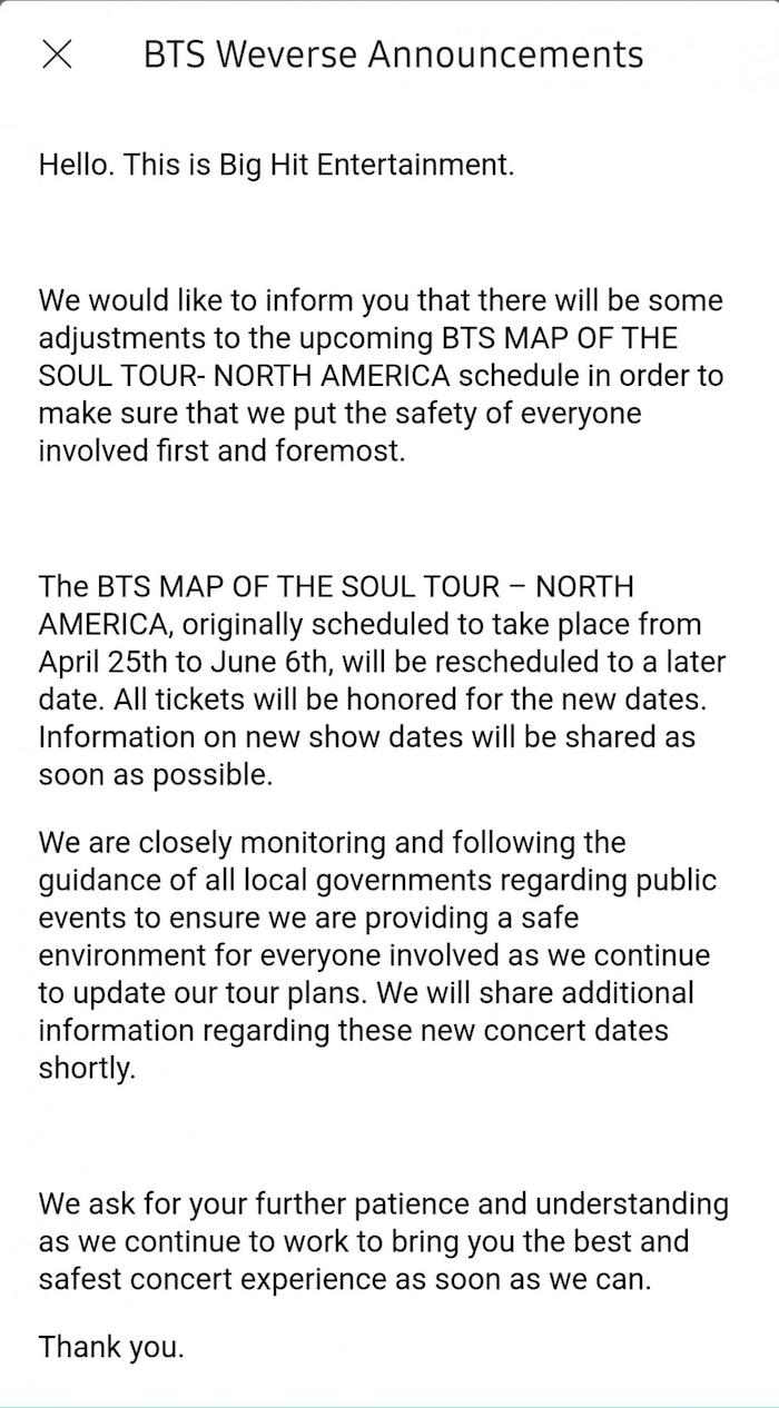 Sau khi huỷ 4 concert ở Seoul, Big Hit thông báo hoãn luôn Map Of The Soul Tour của BTS ở Bắc Mỹ - Hình 1