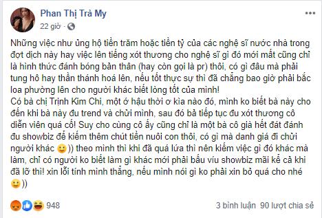 DV Trà My tiếp tục gây sốc khi chửi các nghệ sĩ thương xót cố diễn viên Mai Phương: Có gì đâu phải tung hô - Hình 1
