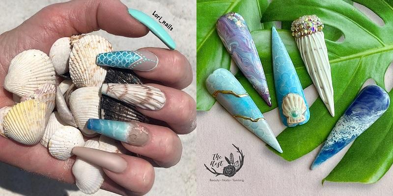 Mùa hè mà không được đi chơi, các cô nàng hãy thử ngay loạt mẫu nail biển xanh, vỏ sò này - Hình 18