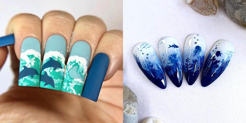 Mùa hè mà không được đi chơi, các cô nàng hãy thử ngay loạt mẫu nail biển xanh, vỏ sò này - Hình 9