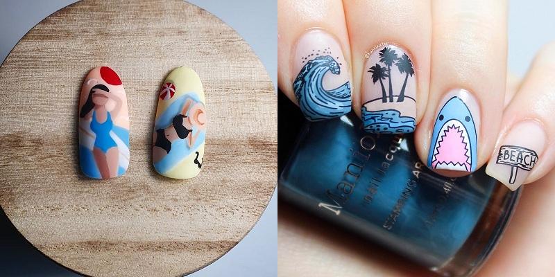 Mùa hè mà không được đi chơi, các cô nàng hãy thử ngay loạt mẫu nail biển xanh, vỏ sò này - Hình 8