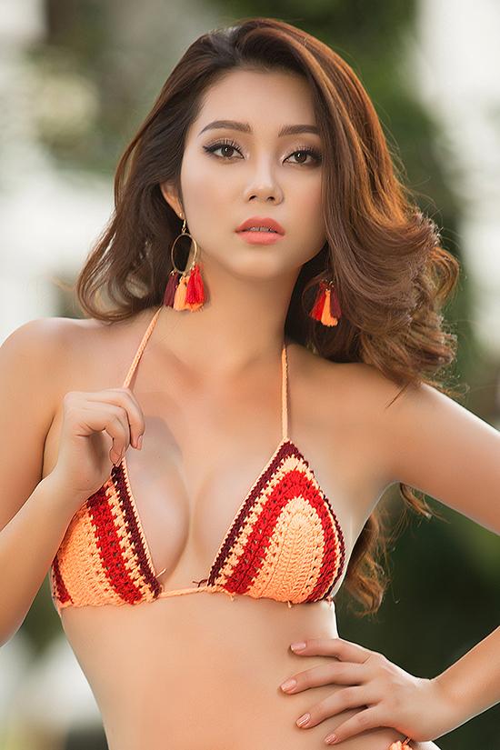 Người đẹp Lâm Thu Hồng diện bikini đan móc - Hình 5