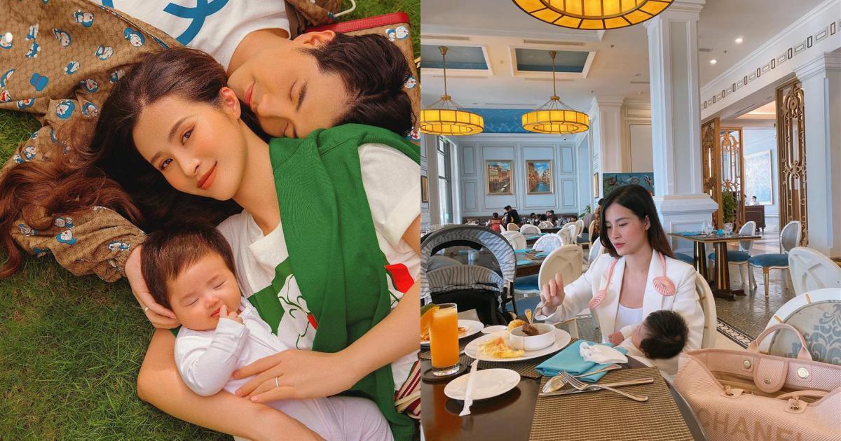 Đông Nhi ăn tiệc hạng sang nhưng hình thức vẫn chuẩn 'mẹ bỉm'