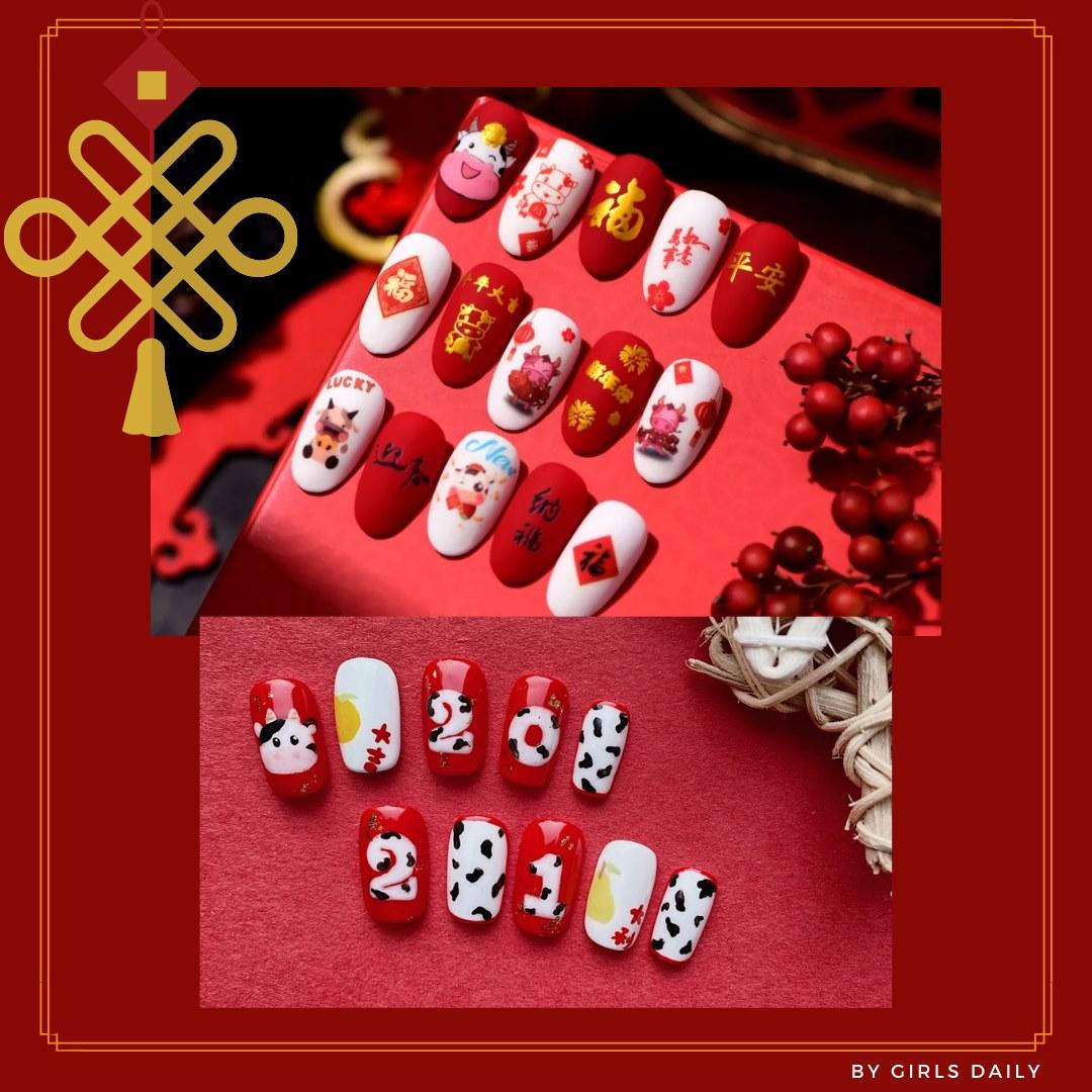 Gợi ý mẫu nails vừa đẹp vừa sang hợp với Tết Tân Sửu 2021 - Hình 5