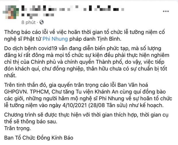 Phía cố ca sĩ Phi Nhung thông báo hoãn lễ tưởng niệm ngày 4/10, lý do là gì? - Hình 1