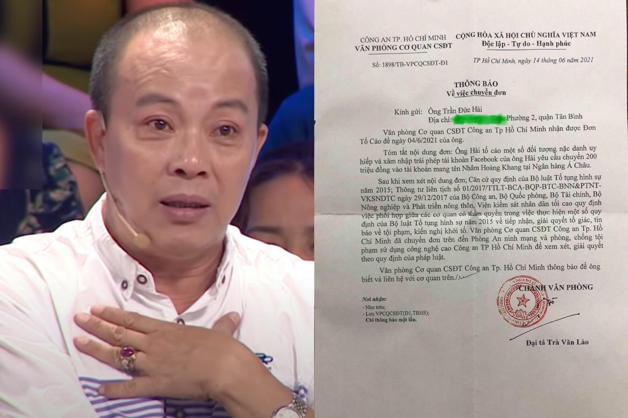Công an TP.HCM nhận đơn tố cáo của NSƯT Đức Hải vụ Nhâm Hoàng Khang - Hình 1