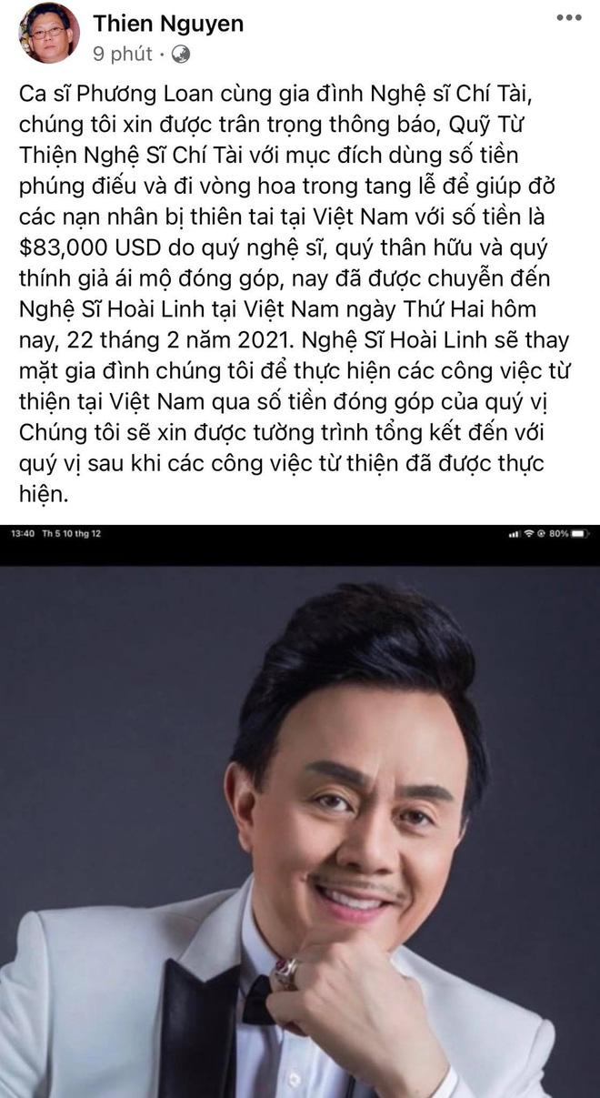 Tiền phúng viếng cố NS Chí Tài lên đến gần 2 tỷ đồng, gia đình đã bàn giao cho NS Hoài Linh để lập quỹ từ thiện tại Việt Nam - Hình 1