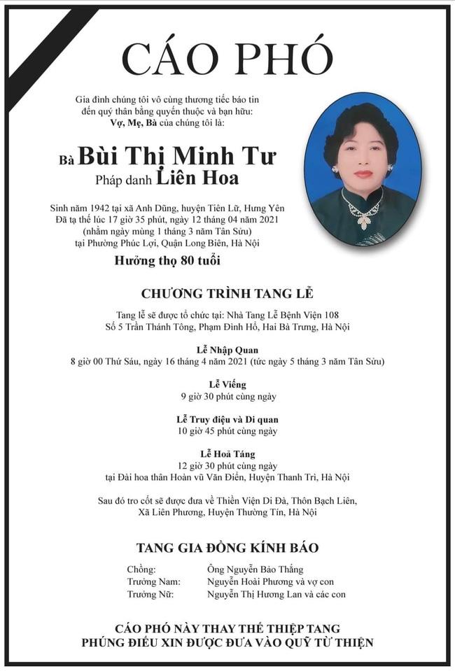 Mẹ chồng nghệ sĩ Việt Hương qua đời, hưởng thọ 80 tuổi - Hình 1