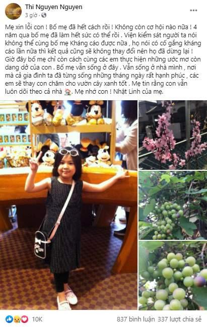 Chia sẻ xót xa của mẹ bé Nhật Linh khi vụ án không còn cơ hội kháng cáo: Xin lỗi con! Bố mẹ đã hết cách rồi - Hình 1