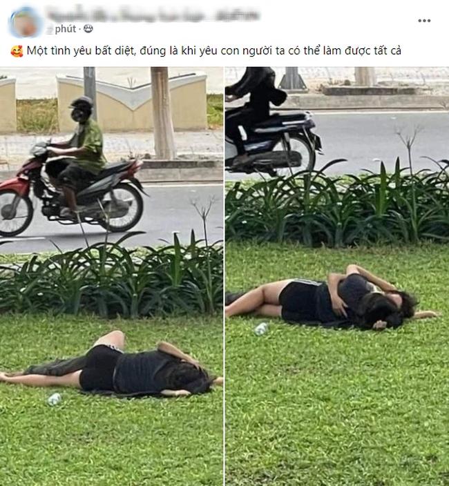 Vô tư nằm ôm ấp nhau giữa bãi cỏ nơi công cộng, cặp đôi khiến cư dân mạng phẫn nộ chỉ trích - Hình 1