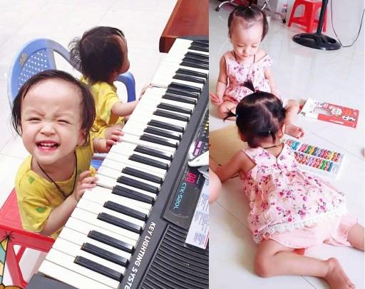 Trúc Nhi - Diệu Nhi tròn 2 tuổi: Đã tự bước đi, vui vẻ đàn hát và tập tô, ở nhà chống dịch rất ngoan - Hình 4