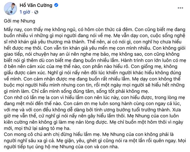 Hồ Văn Cường lên tiếng về ồn ào với Phi Nhung: Xác nhận tin nhắn là thật nhưng bị hack, phủ nhận bị bóc lột và nhận lỗi với mẹ - Hình 4