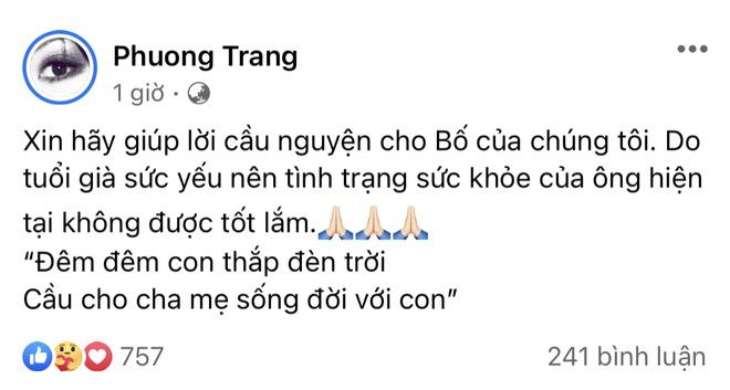 Em gái NS Hoài Linh gây lo lắng khi thông báo tình trạng sức khoẻ của bố, Nam Thư - Bảo Anh và dàn sao động viên - Hình 1