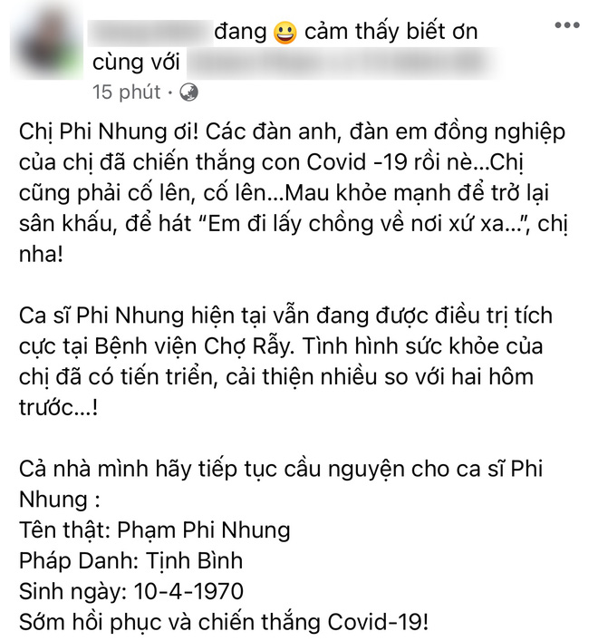 Con trai nuôi viết tâm thư động viên ca sĩ Phi Nhung, tình hình nữ ca sĩ thế nào sau 3 ngày chuyển viện điều trị Covid-19? - Hình 4