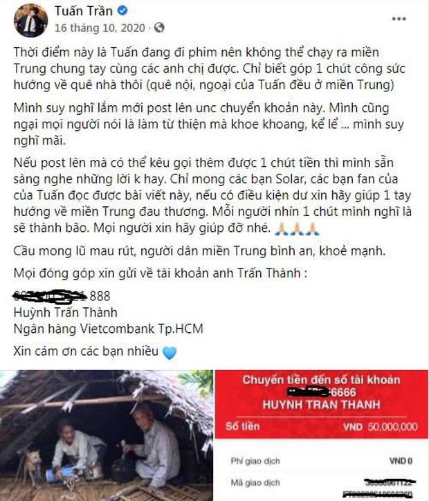 Netizen bóc ảnh Tuấn Trần gửi 50 triệu quyên góp vào 1 tài khoản khác của Trấn Thành, chính chủ vội làm rõ ngay - Hình 4