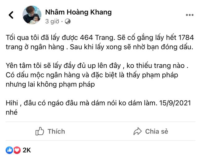 Cậu IT Nhâm Hoàng Khang bất ngờ tiết lộ đã lấy 464 trang sao kê quỹ từ thiện Hằng Hữu, khẳng định sẽ công khai không thiếu trang nào - Hình 1