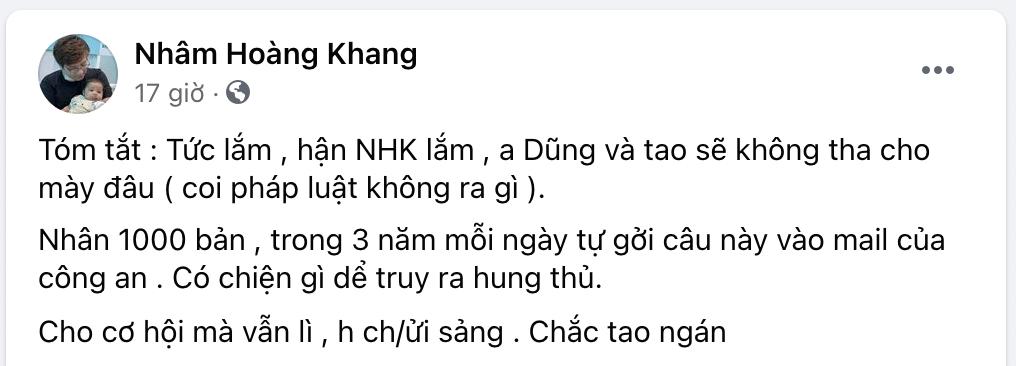Nhâm Hoàng Khang kiên quyết chơi tới cùng, đã đăng kí bản quyền ở Mỹ những audio bà Hằng vu khống mình - Hình 1