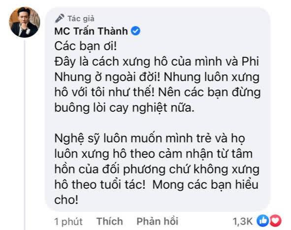 Netizen chỉ trích Trấn Thành dữ dội về cách xưng hô bạn - tôi dù kém cố NS Phi Nhung 17 tuổi, chính chủ giải thích có hợp lý? - Hình 2