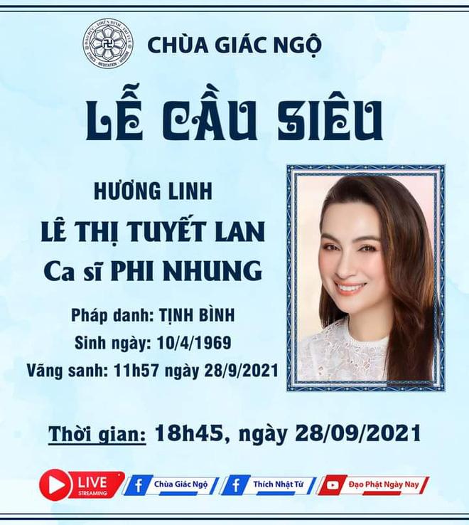 THÔNG BÁO: Thời gian diễn ra Lễ tưởng niệm và cầu siêu cho nữ ca sĩ Phi Nhung - Hình 2