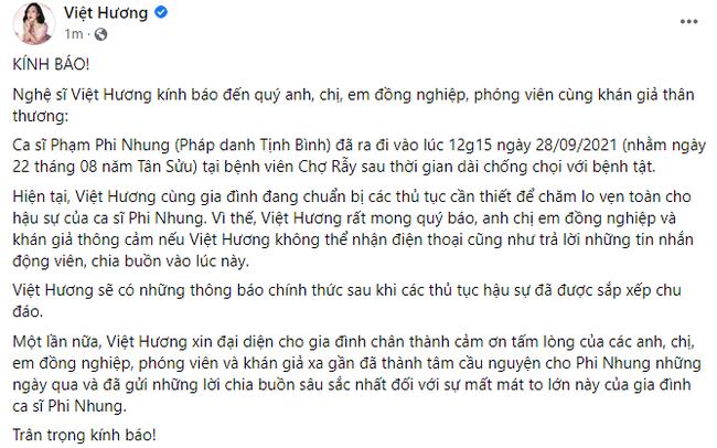 Thông tin chính thức về tang lễ của ca sĩ Phi Nhung - Hình 1