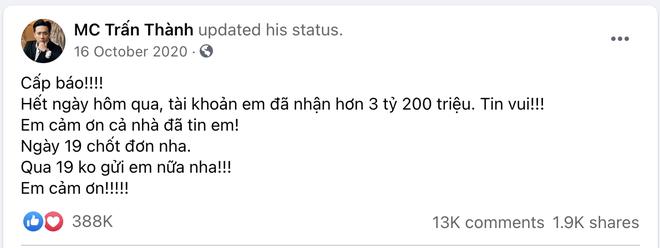 Trấn Thành từng thông báo nhận 3,2 tỷ đồng sau 3 ngày kêu gọi, netizen phát hiện số liệu không khớp với sao kê thực tế? - Hình 1